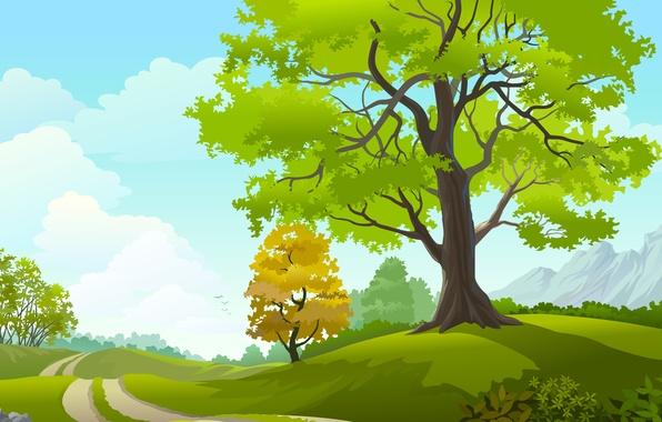 Картинка дорога, небо, облака, деревья, пейзаж, птицы, природа, road, sky, trees, landscape, nature, clouds, birds, векторная …