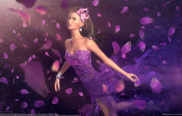 Картинка девушка, украшения, цветы, лепестки, платье, арт, andrius balciunas