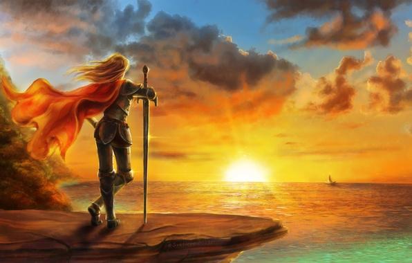 Картинка море, девушка, закат, ветер, парусник, меч, арт, плащ
