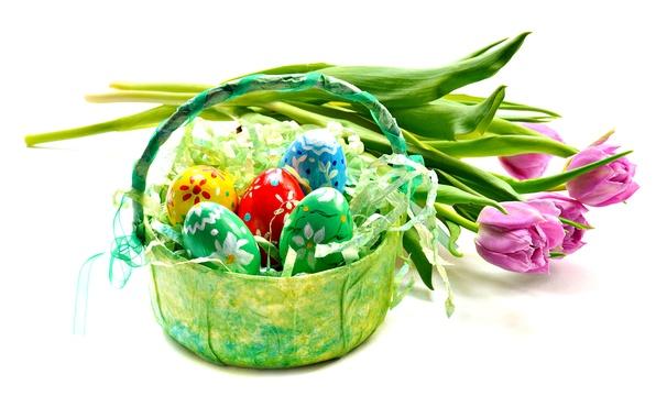 Картинка цветы, яйца, Пасха, тюльпаны, розовые, корзинка