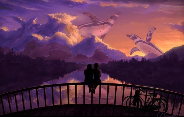 Картинка небо, деревья, любовь, закат, мост, велосипед, отражение, романтика, пингвины, арт, пара, речка