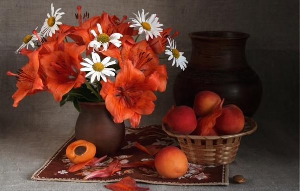 Картинка лето, лилии, ромашки, букет, плоды, кувшин, фрукты, натюрморт, абрикосы