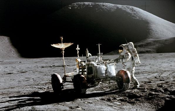 Картинка космос, техника, Луна, space, Moon, NASA, астронавт
