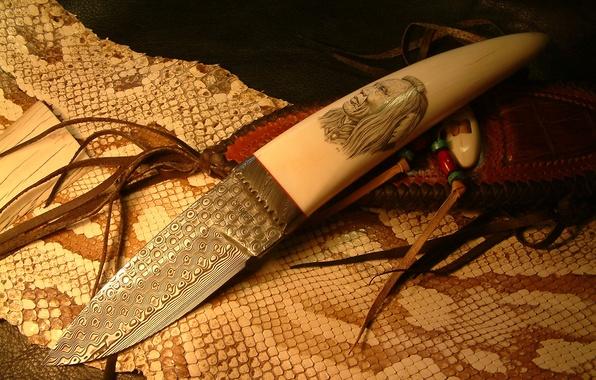 Картинка кожа, нож, змей, индеец, холодное оружие