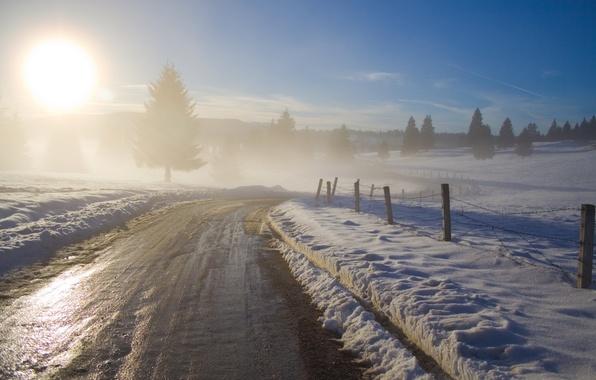 Картинка дорога, небо, солнце, деревья, природа, дерево, рассвет, дороги, утро, дымка, заборы, зима фотографии пейзажи, туманы, …