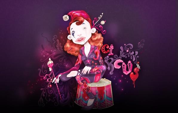 Картинка девушка, клоун, цирк