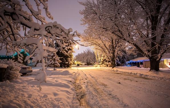 Картинка зима, машина, снег, деревья, природа, фон, новый год, вечер, красиво, автомобиль