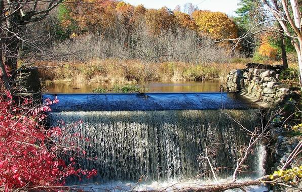 Картинка осень, лес, небо, листья, деревья, река, водопад, плотина, багрянец