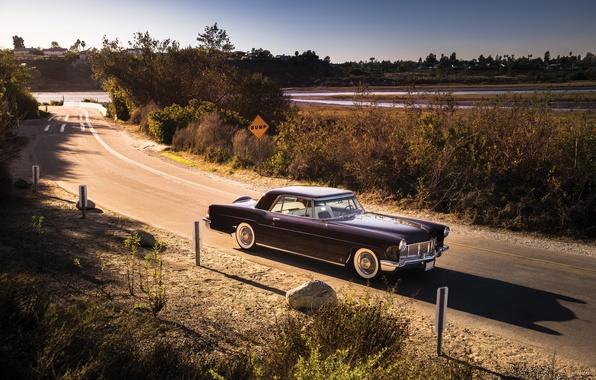 Картинка дорога, Lincoln, фон, Continental, передок, 1956, Линкольн, Mark II, Континентал