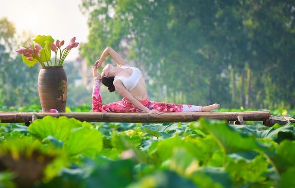 Картинка лето, девушка, поза, гимнастика, йога, ножки, азиатка, упражнение
