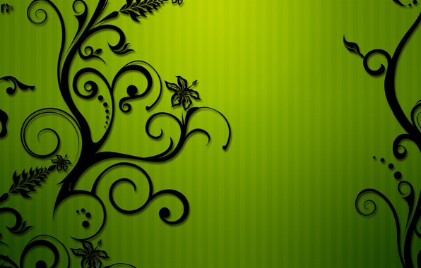 Картинка цветы, зеленый, полосы, узор, завитки