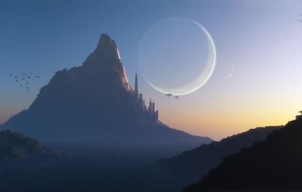 Картинка закат, птицы, город, туман, скала, фантастика, холмы, транспорт, планеты, гора, корабли, арт, башни