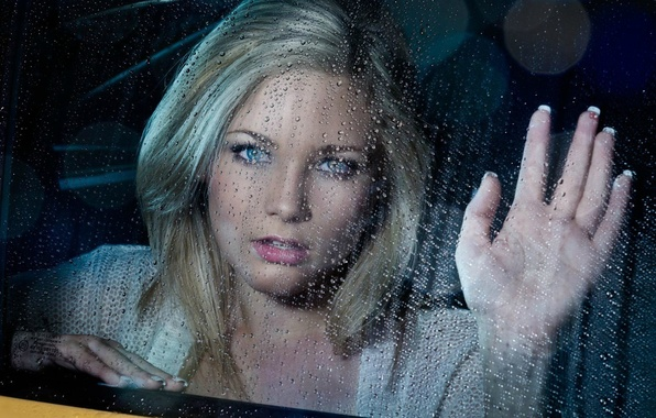 Картинка машина, девушка, капли, дождь, рука, окно, блондинка, ладонь