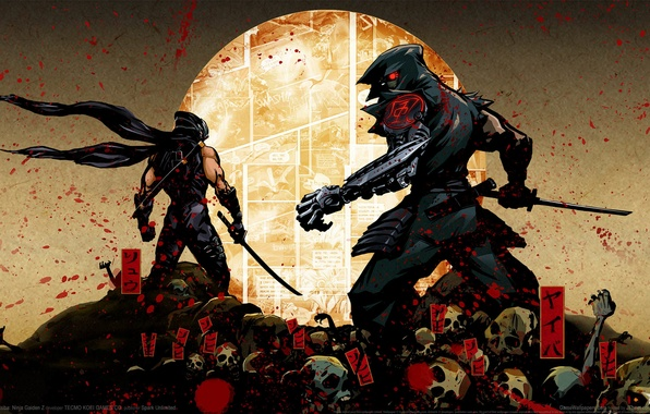 Картинка брызги, кровь, меч, катана, кости, капюшон, иероглифы, черепа, кимоно, ниндзя, киборг, GameWallpapers, комикс, ninja, Рю …