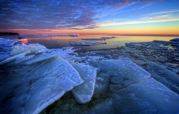 Картинка зима, море, рассвет, утро, льдины