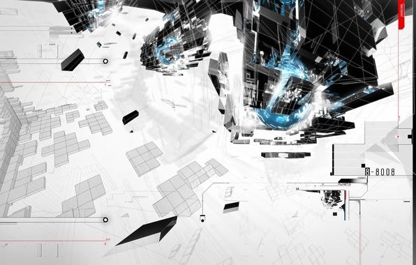 Фото обои стройка, планета, minimal, trance, AMPLIFIER404, cinema 4d