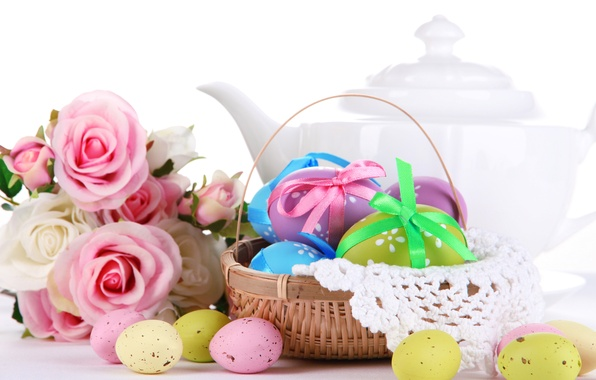Картинка цветы, праздник, розы, яйца, весна, чайник, Пасха, корзинка, пасхальные, перепелиные