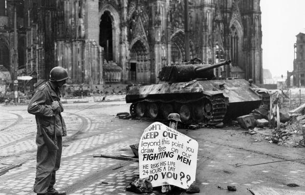 Картинка надпись, война, плакат, солдат, танк, руины