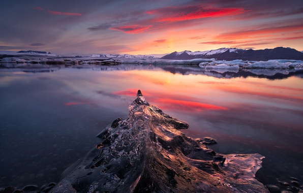 Картинка лед, небо, горы, природа, озеро, рассвет