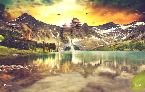Картинка небо, пейзаж, горы, птицы, природа, озеро, скалы, лошадь, водопад, зарево, Paul Hector Theofanous, Ancient Sunrise
