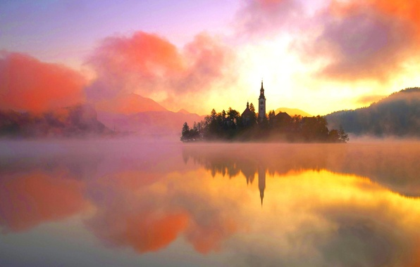 Картинка вода, пейзаж, оранжевый, природа, туман, озеро, тепло, остров, башня, красота, Lake Bled