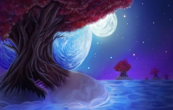 Картинка небо, листья, звезды, пейзаж, ночь, дерево, луна, планета, живопись