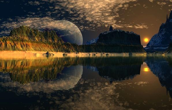Картинка небо, космос, облака, горы, озеро, отражение, планета