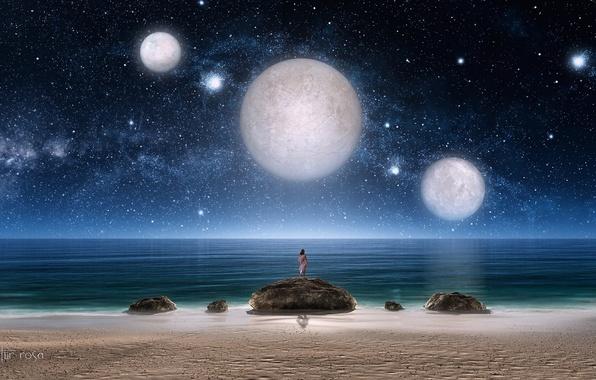 Картинка море, девушка, звезды, ночь, камни, фантастика, планеты, арт, три, звездное небо