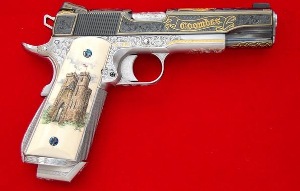 Картинка красный, оружие, фон, Пистолет, ствол, кость, gun, pistol, golden, automatic, weapon, магазин, рукоять, 1911, Colt, ...