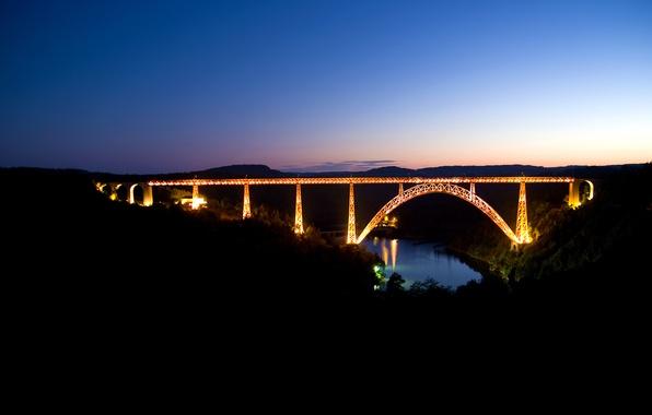 Картинка дорога, небо, вода, пейзаж, ночь, мост, огни, река, road, water, night, view, rivers, nature walls, …