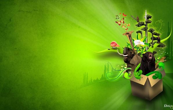 Картинка животные, цветок, деревья, бабочки, буквы, музыка, коробка, green, надпись, слон, логотип, music, медведь, джунгли, леопард, …