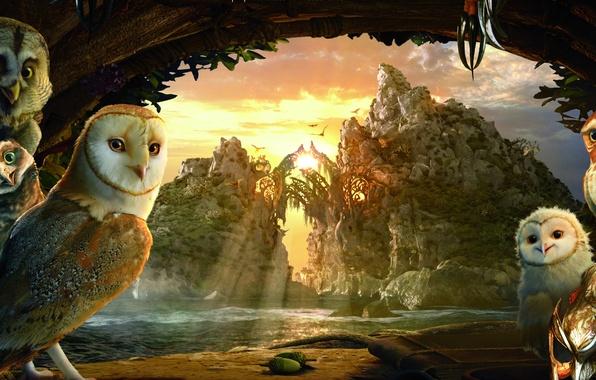 Картинка небо, яркие краски, облака, деревья, закат, горы, река, скалы, мультфильм, вечер, маска, совы, солнечные лучи, …