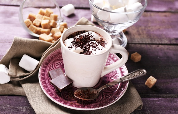 Картинка шоколад, hot, cup, chocolate, какао, cocoa, зефир, marshmallow