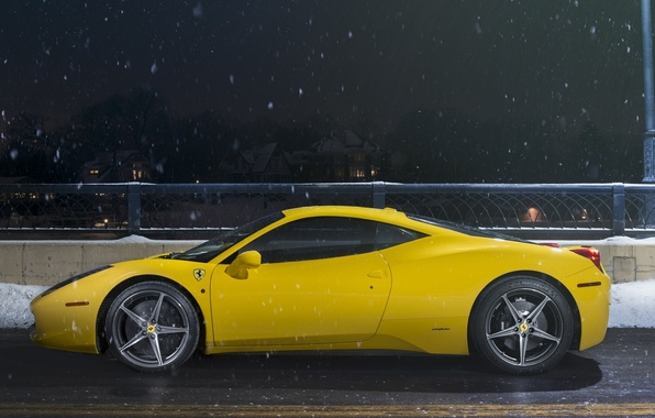 Картинка Ferrari, 458, Snow, Yellow, Side, Italia, Road, Supercar, Ligth, Nigth