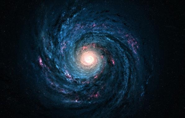 Картинка космос, lights, одиночество, спираль, звёзды, ядро, Млечный Путь, stars, красивые обои, cosmos, вечность, Milky Way, …