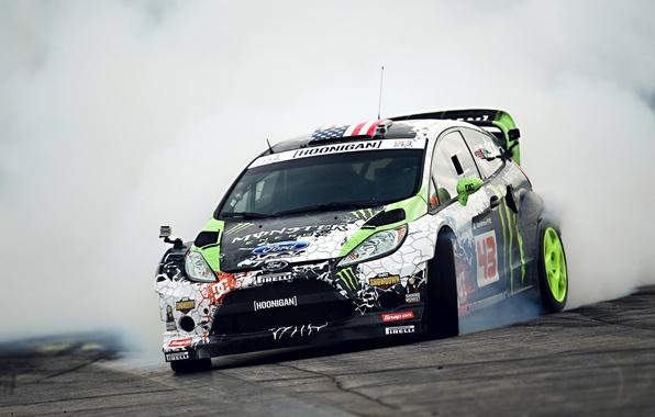 Картинка Ford, Drift, Monster Energy, Smoke, Ken Block, Tuning, Fiesta, Sportcar, Gymkhana
