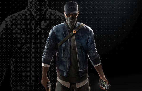 Картинка маска, очки, кепка, парень, Ubisoft, хакер, Marcus, Watch Dogs 2, Маркус