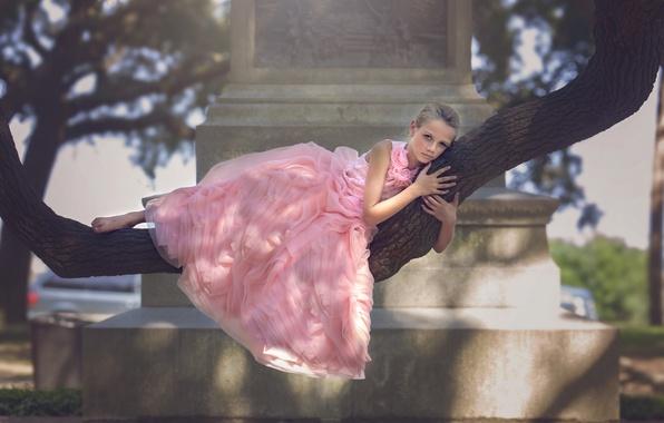 Картинка парк, дерево, платье, девочка, Battery Park, Julia Altork