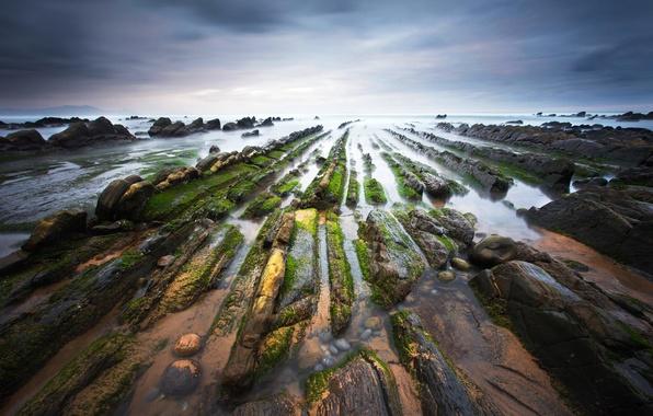 Картинка вода, природа, камни, побережье, мох, выдержка, Испания, Бискайский залив, Баррика