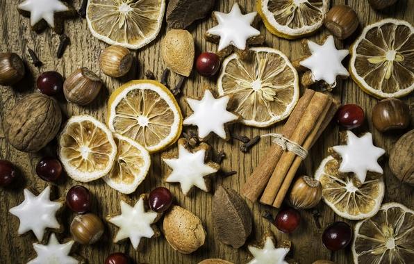Картинка макро, рождество, печенье, орехи, корица