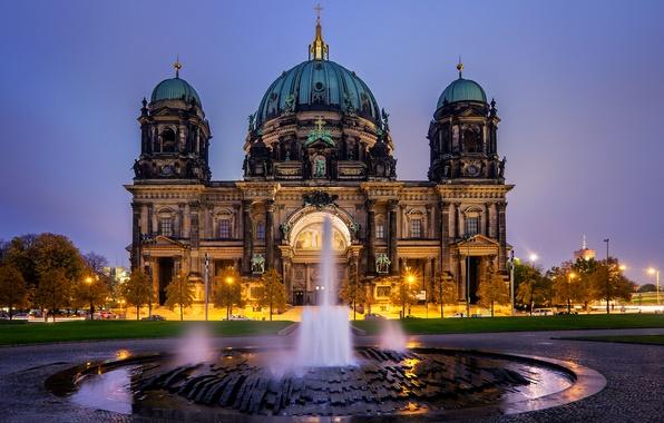 Картинка вечер, Германия, фонтан, Germany, Берлин, Berlin, Берлинский кафедральный собор, Berliner Dom