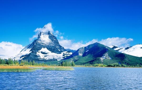 Картинка облака, горы, синий, озеро, 157
