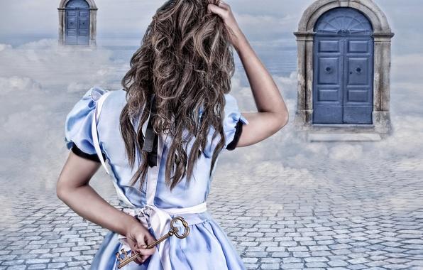 Картинка девушка, фантазия, двери, ключ