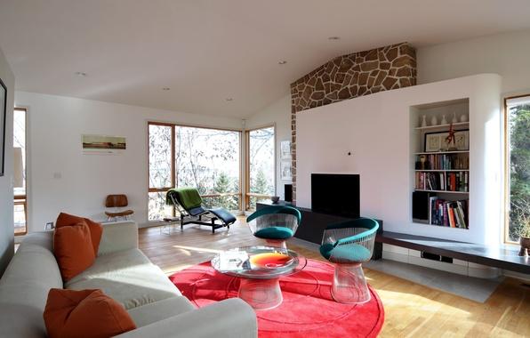 Картинка дизайн, комната, диван, розовый, ковер, мебель, интерьер, подушки, гостиная