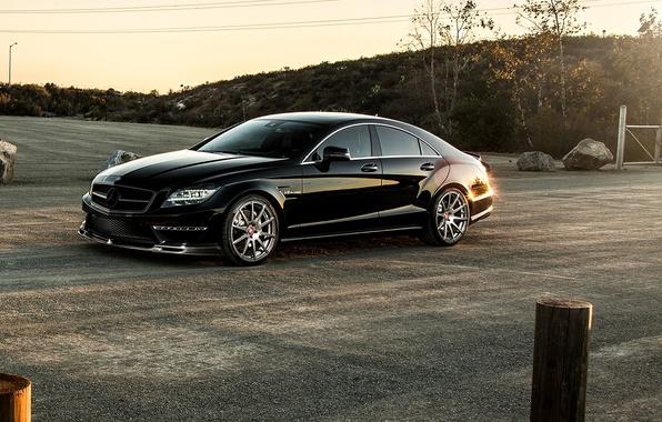 Картинка черный, Mercedes-Benz, седан, мерседес, AMG, Black, Sedan, C218, CLS 63, 2015, CLK-Class