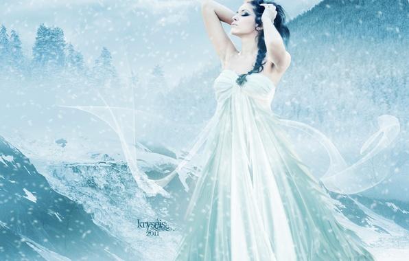 Картинка холод, зима, небо, девушка, снег, горы, лицо, волосы, руки, макияж, платье, арт, профиль, кудри
