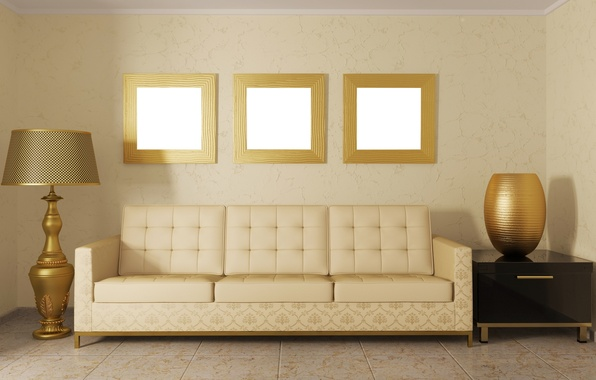 Картинка дизайн, комната, диван, мебель, цвет, лампа, интерьер, подушки, красиво, ваза, золотой, зеркала, абажур, величественно, рамки