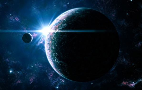 Картинка свет, спутник, Галактика, Звезды, Планета