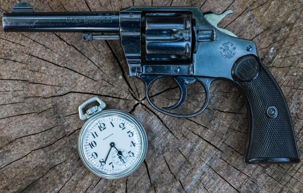 Картинка оружие, часы, револьвер, Police, Colt, 1906