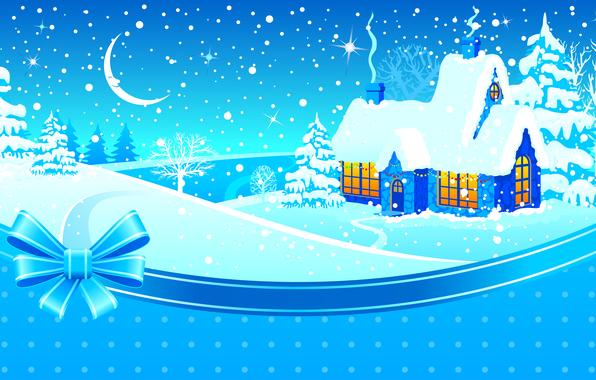 Картинка зима, снег, деревья, уют, окна, звёзды, месяц, лента, домик, бант, дымок, сопки